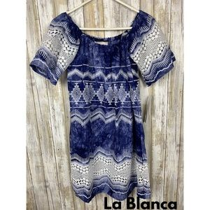 La Blanca Blue & White Swimsuit Coverup Dress